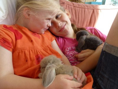 Agi K and Magdalena with their baby rabbits
