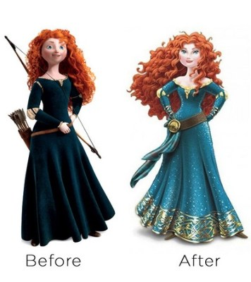 Before & after Disney changed Merida collage by Agi K