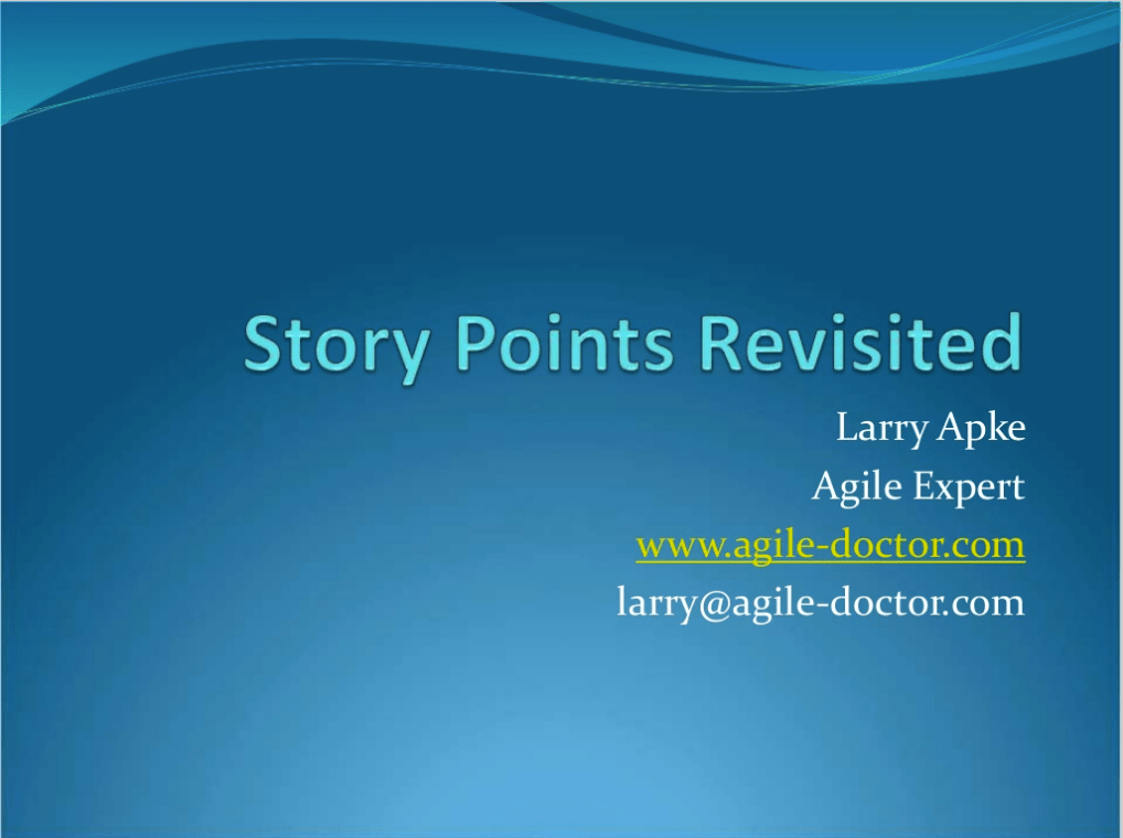story points revisited, larry apke, agile