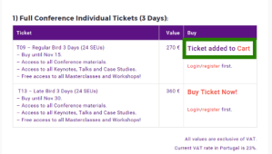 Step 02: 3-days Ticket added to Cart