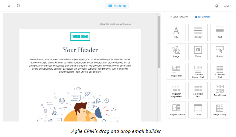 Agile CRM's drag and drop email builder