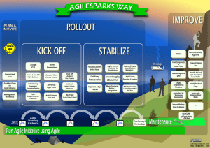 The AgileSparks Way implementation approach - Initiate & Plan, Kick Off, Stabilize, Recharge, Improve
