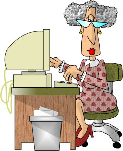 cartoon old woman at computer