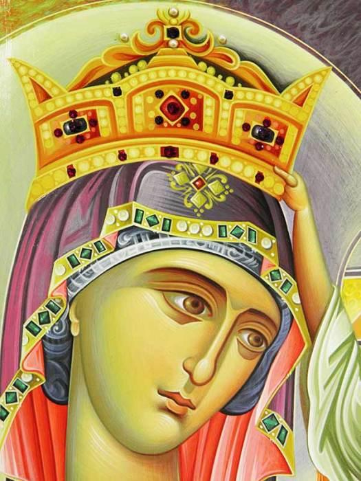 Παναγία Βασίλισσα εικόνα ιδιαίτερης τεχνοτροπίας διαστάσεων 80Χ50 cm, σε σκαφτό ξύλο κόντρα πλακέ θαλάσσης 3 cm, με στιλβωμένο χρυσό 22 καρατίων στο πηχάκι.