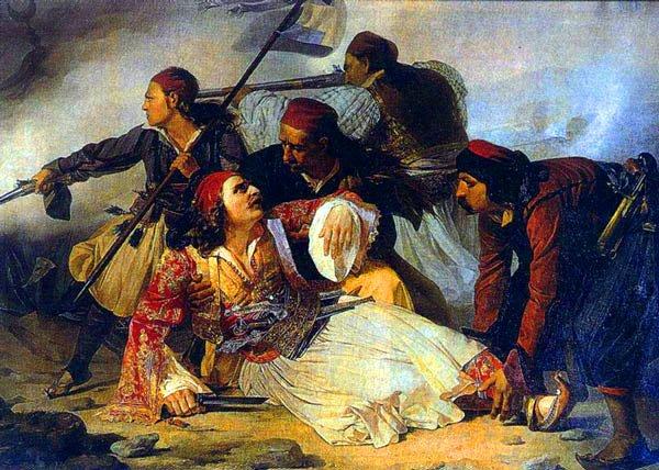 Ο Μάρκος Μπότσαρης νεκρός,Πίνακας από τον Ludovico Lipparini, βρίσκεται στο μουσείο της Τεργέστης στην Ιταλία