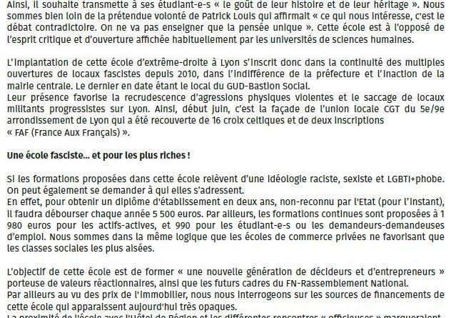 [Communiqué CV69 dont Agir pour l'égalité est signataire] Non à l'ouverture de l'école de Marion Maréchal Le Pen à Lyon