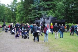 Hjälp med att vända loket på vändskivan i Gräfsnäs. Foto: Patrik Engberg