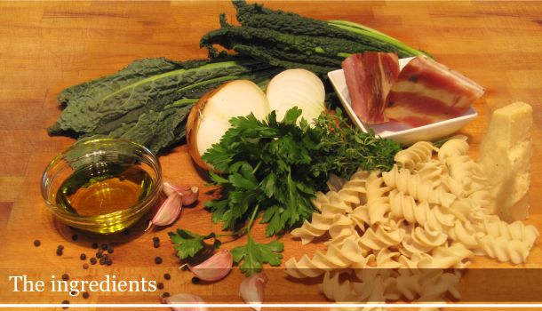 Ingredients for Fusilli with Black Kale and Smoked Pancetta