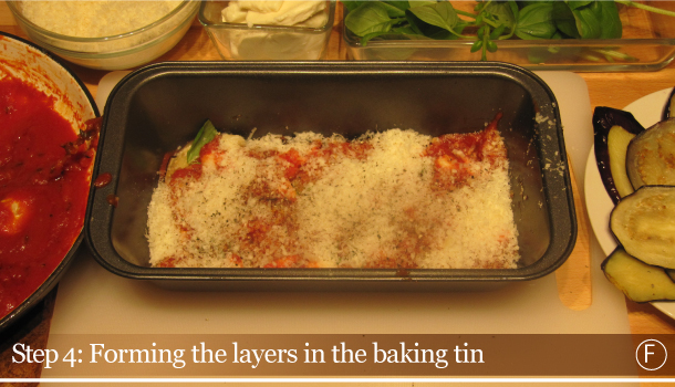 Parmigiana di Melanzane - Aubergine Parmigiana Pie - How to - step 4F - Forming the layers in the baking tin