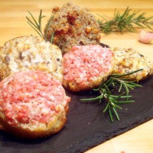 Crostini Christmas-trio. Mushroom, Salame Milano, Walnuts and cheese toppings