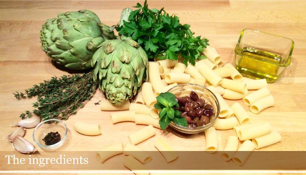 Rigatoni with artichokes and taggiasche olives
