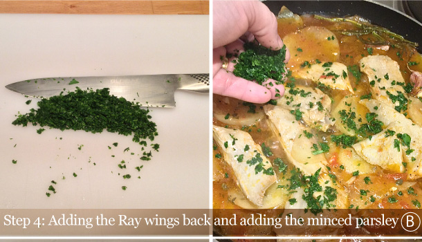 """Poached Ray Fish Wings with potatoes"" recipe - ""Razza in umido con le patate"""