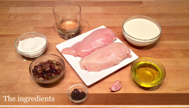 """Chicken Breasts with Olives and Cream"" recipe - ""Petto di Pollo con Panna e Olive"""