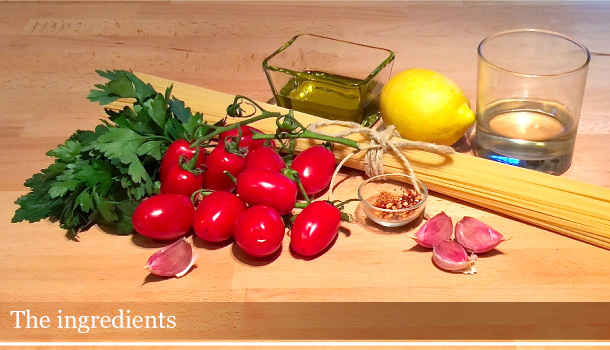 """Spaghetti with Cherry Tomatoes and Lemon spicy sauce"" Vegan recipe"