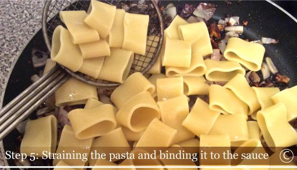 """Calamarata Pasta with Red Chicory, Walnuts and Gorgonzola Cheese"" recipe"