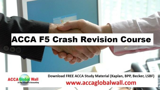 ACCA F5 Crash Revision Course