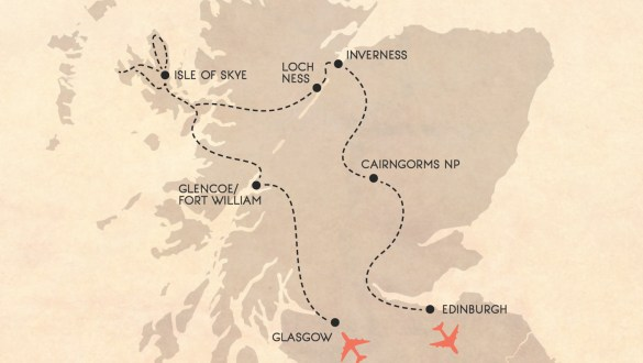 10 day epic Scotland road trip itinerary map