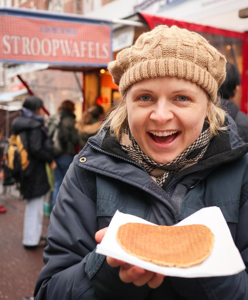 Fresh stroopwafel from a market in Amsterdam