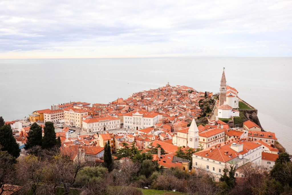 The orange rooftops of Piran with the Adriatic Sea