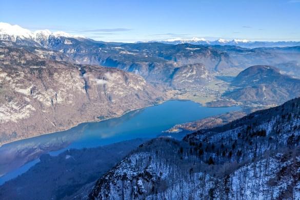 Views of Lake Bohinj from Vogel ski resort in Slovenia
