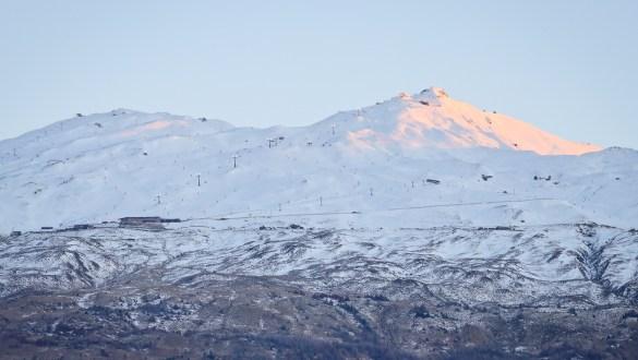 Coronet Peak ski field seen from Queenstown, New Zealand