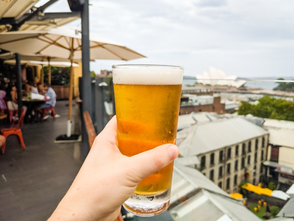 Beer on the rooftop of The Glenmore in The Rocks, Sydney