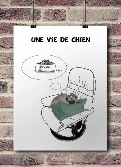 """présentation d'une affiche décalée concernant un film culte """"Une Vie de Chien"""""""