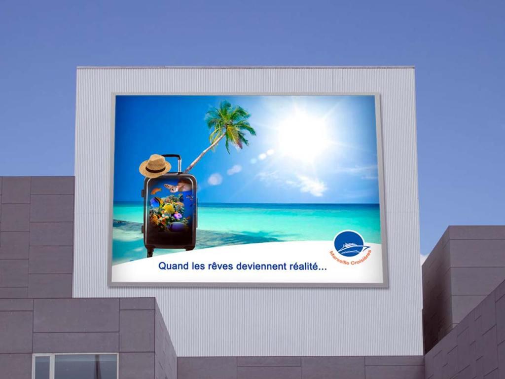 Présentation affiche publicitaire d'une agence de voyage
