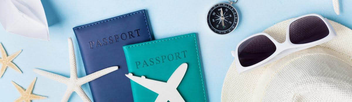 Travel gear - passports, sunglasses, hat