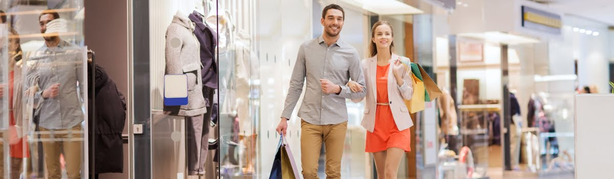 Couple holding hands and shopping in Kuala Lumpur, Malaysia