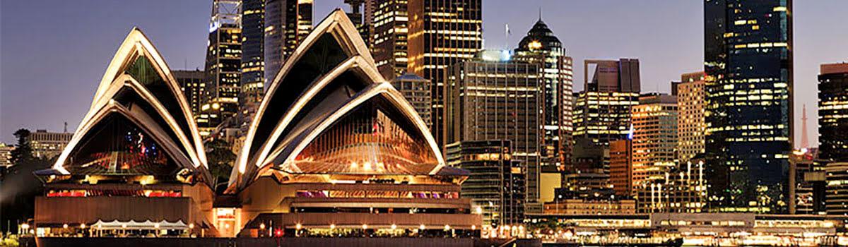 Skyline view at night of Sydney Opera House
