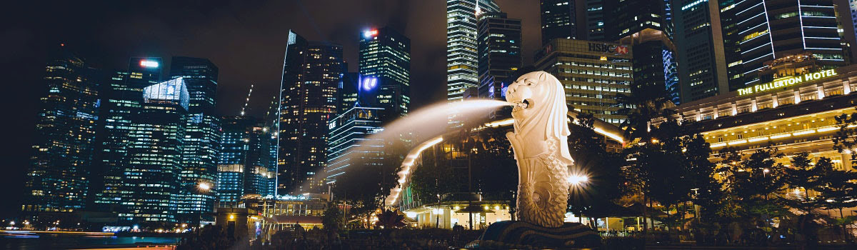 Night view of Merlion in Singapore harbor