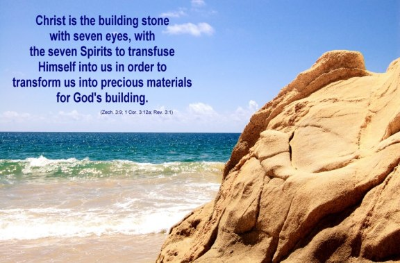 Christ is the building stone with seven eyes, with the seven Spirits to transfuse Himself into us in order to transform us into precious materials for God's building (Zech. 3:9; 1 Cor. 3:12a; Rev. 3:1).