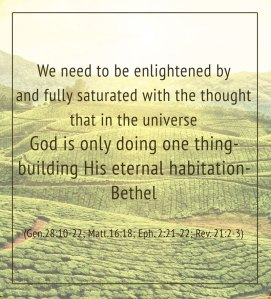 Today God is Doing only One Thing in this Universe: Building His Eternal Habitation