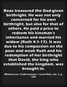 Fighting for Our Birthright and being One with Christ to Redeem Other's Birthright