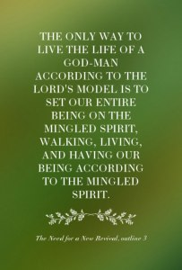 Living the Life of a God-man According to the Lord's Model by Living in the Spirit