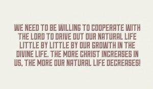 Being willing to Drive out our Natural Life Little by Little by Growing in Christ