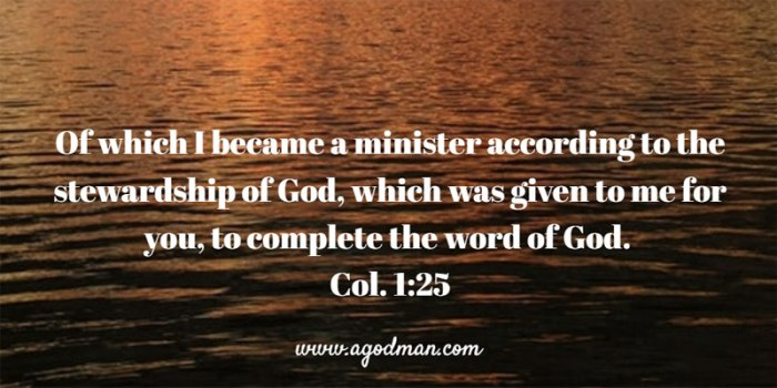 Col. 1:25 Of which I became a minister according to the stewardship of God, which was given to me for you, to complete the word of God.