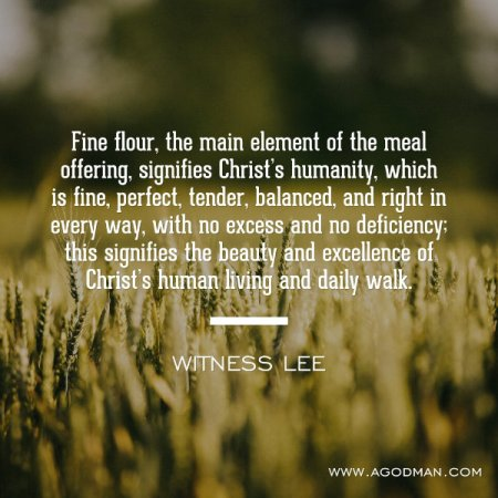 Fine flour, the main element of the meal offering, signifies Christ's humanity, which is fine, perfect, tender, balanced, and right in every way, with no excess and no deficiency; this signifies the beauty and excellence of Christ's human living and daily walk. Witness Lee