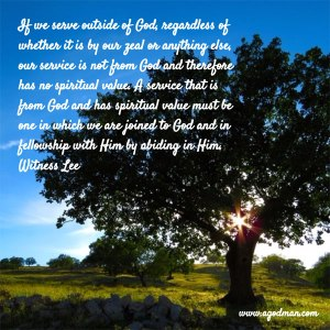 Seeing the Two Different Sources of Service and Serving God from God by the Spirit