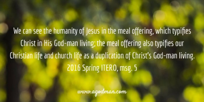 We can see the humanity of Jesus in the meal offering, which typifies Christ in His God-man living; the meal offering also typifies our Christian life and church life as a duplication of Christ's God-man living. 2016 Spring ITERO, msg. 5