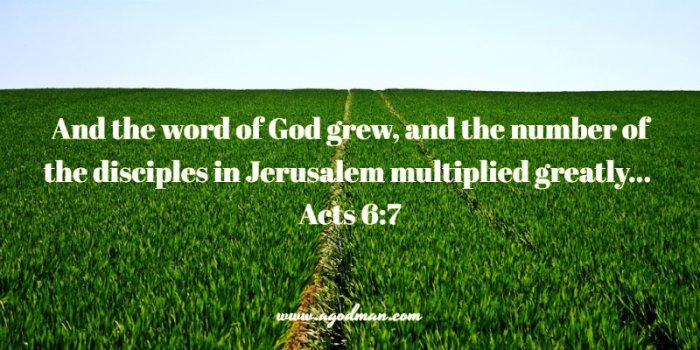Acts 6:7 And the word of God grew, and the number of the disciples in Jerusalem multiplied greatly...