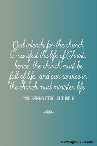 Experiencing and Ministering the Eternal Life for the Church to be Full of Life
