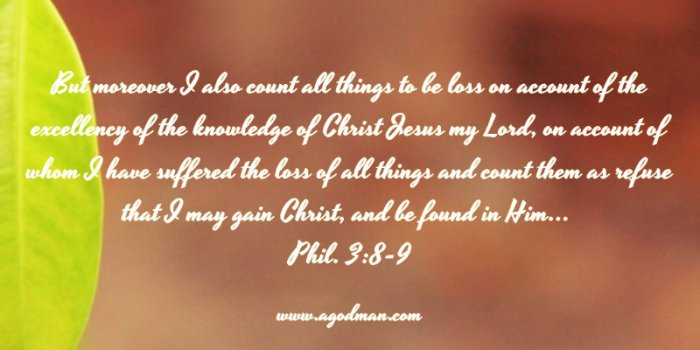 Phil. 3:8-9 But moreover I also count all things to be loss on account of the excellency of the knowledge of Christ Jesus my Lord, on account of whom I have suffered the loss of all things and count them as refuse that I may gain Christ, and be found in Him...