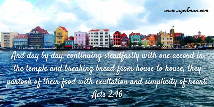 Acts 2:46 And day by day, continuing steadfastly with one accord in the temple and breaking bread from house to house, they partook of their food with exultation and simplicity of heart.