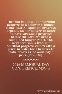 Spiritual Progress is the Increase of the Element of Christ within the Believers