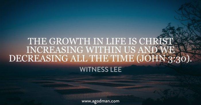 The growth in life is Christ increasing within us and we decreasing all the time (John 3:30). Witness Lee