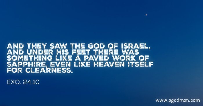 Exo. 24:10 And they saw the God of Israel, and under His feet there was something like a paved work of sapphire, even like heaven itself for clearness.