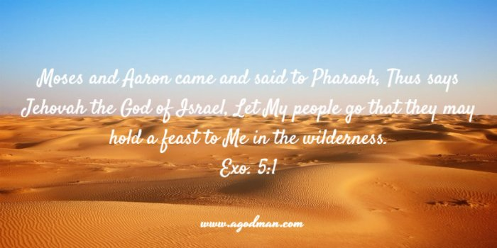 Exo. 5:1 ...Moses and Aaron came and said to Pharaoh, Thus says Jehovah the God of Israel, Let My people go that they may hold a feast to Me in the wilderness.