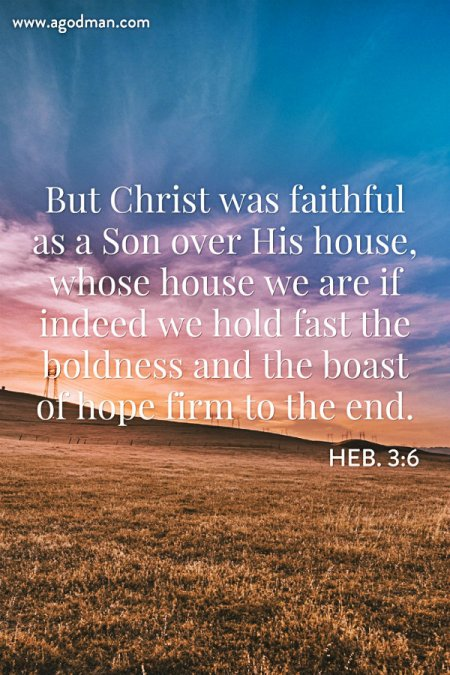 Heb. 3:6 But Christ was faithful as a Son over His house, whose house we are if indeed we hold fast the boldness and the boast of hope firm to the end.